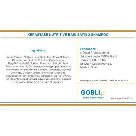 skład Kerastase Nutritive Bain Satin 2 szampon do włosów wrażliwych