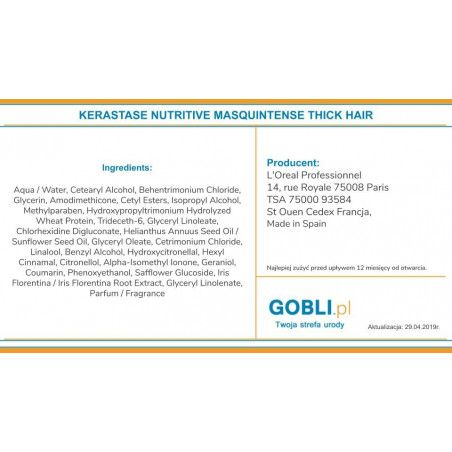 skład Kerastase Nutritive Masquintense 3 maska do włosów z proteinami
