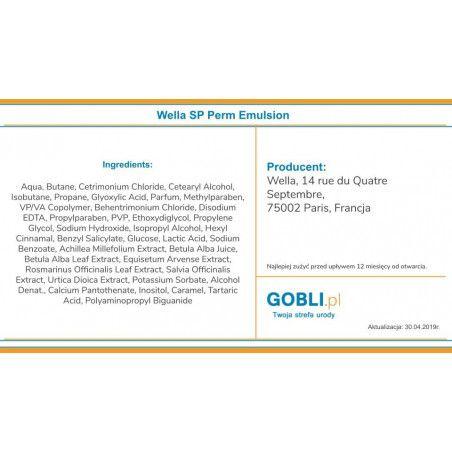 skład Wella SP Perm Emulsion serum utrwalające efekt trwałej ondulacji