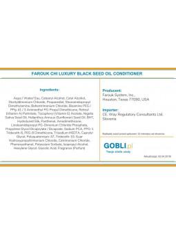skład Farouk Chi Luxury Black Seed Oil odżywka dodająca blasku miękkosci