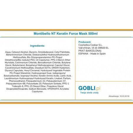 Maska Keratin Force Montibello - skład produktu.