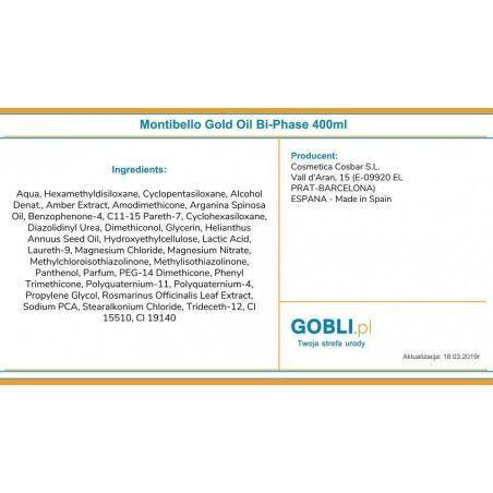 Odżywka dwufazowa Montibello Gold Oil Essence - skład produktu.