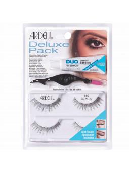Ardell Deluxe Pack 110 BLACK zestaw z klejem i aplikatorem