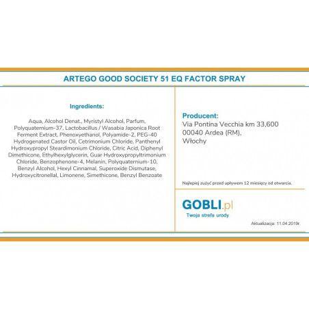 skład Artego Good Society 51 EQ Factor spray odżywiający do włosów