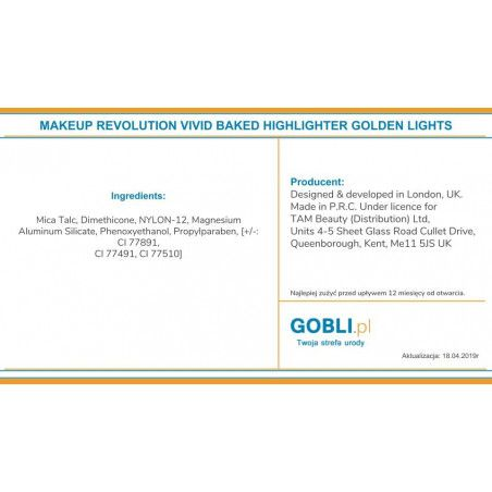 skład Makeup Revolution Vivid Highlighter Golden Lights rozświetlacz