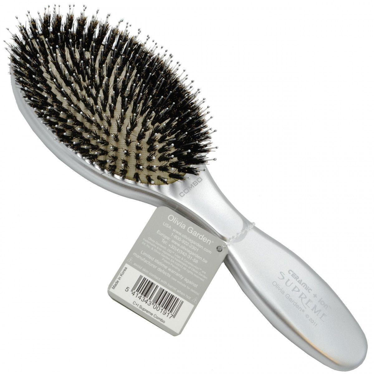 Olivia Garden Supreme Combo Silver, szczotka z włosiem dzika do niesfornych włosów
