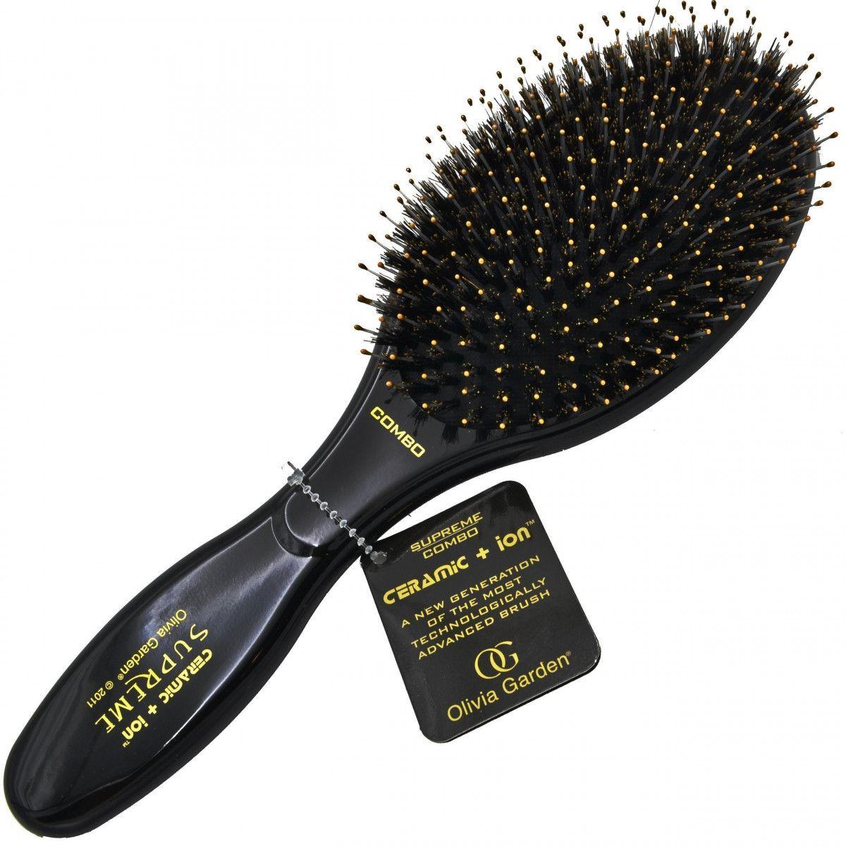Olivia Garden Supreme Combo Black, czarna szczotka z włosia dzika do włosów