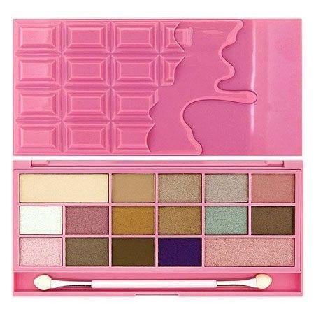 Makeup Revolution 16 Eyeshadows I Love Makeup I Heart Chocolate Pink Fizz, matowe i błyszczące 22g