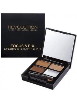 Makeup Revolution Focus & Fix Brow Kit Medium Dark, poręczny zestaw do brwi 5,8g