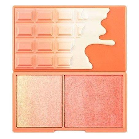 Makeup Revolution Peach And Glow, róż i rozświetlacz w pudrowej formule 11g