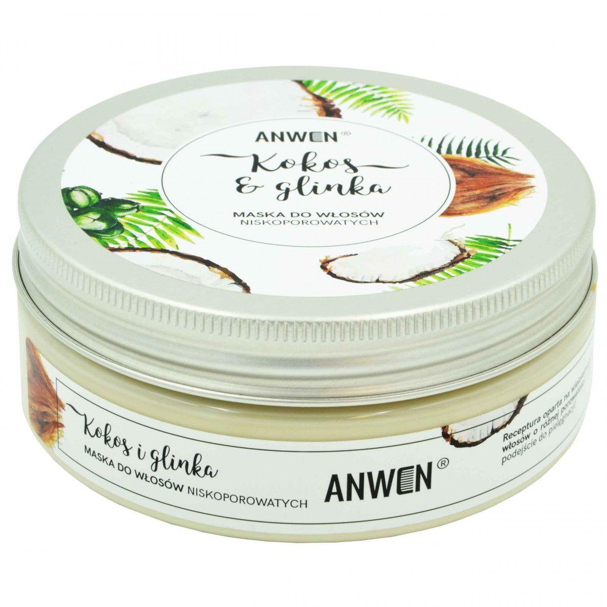 Anwen Kokos i Glinka odżywcza maska do włosów niskoporowatych 200ml