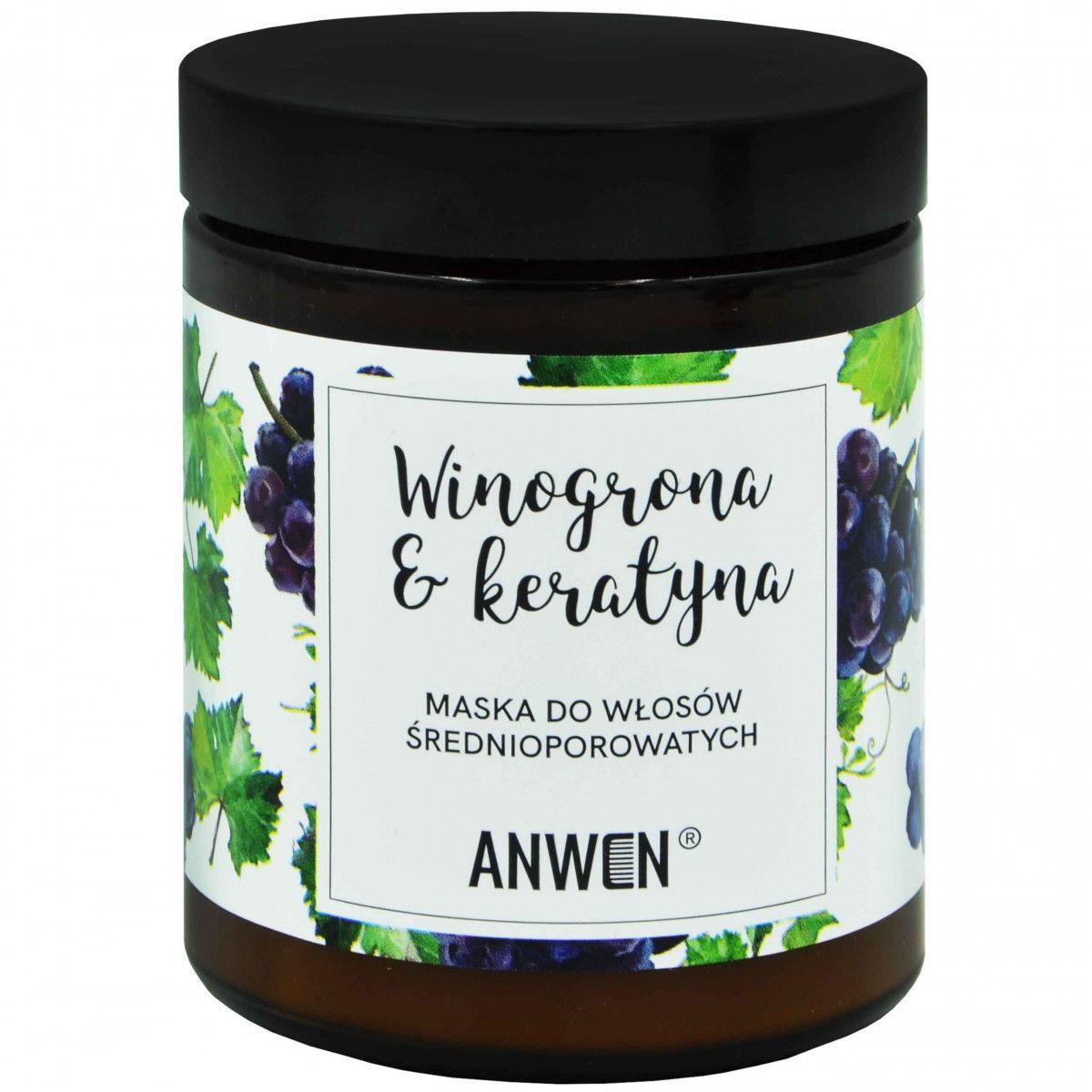 Anwen Maska Winogrona i Keratyna odżywia włosy średnioporowate 180ml