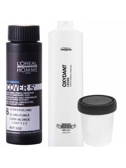 Loreal Homme Cover ZESTAW, farba dla mężczyzn, odsiwiacz 50ml + woda 6% 50ml